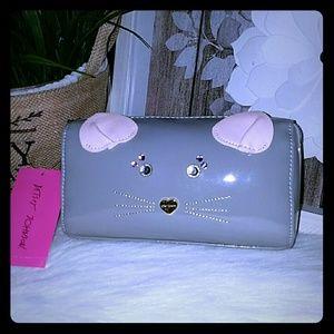 Betsey Johnson cat cosmetic bag